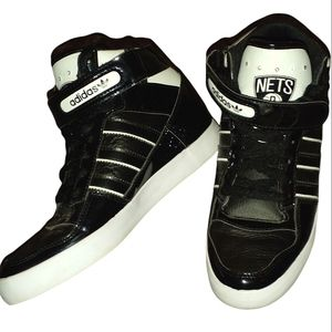Adidas black and white brooklyn nets high top shoes size 7.5